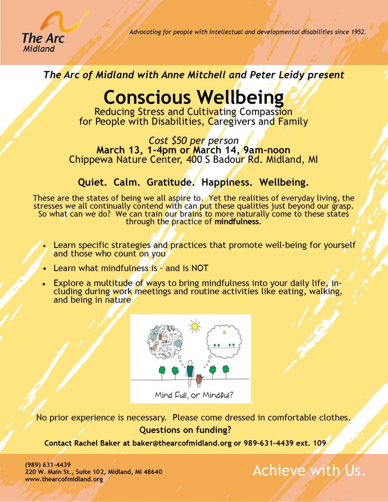 Flyer for Conscious Wellbeing conference. Reducing stress and cultivating compassion.