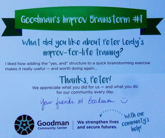 Part of Goodman Center's thank you to Peter Leidy