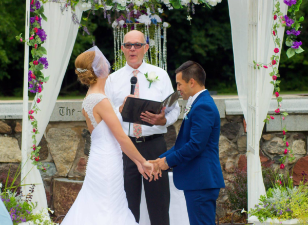 Peter Leidy officiating a wedding