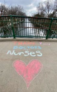 sidewalk chalk heart - thank you health workers